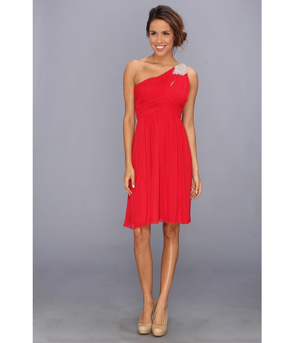 Calvin Klein - Beaded One Shoulder Short Dress CD3B1108 (Red) Women's Dress