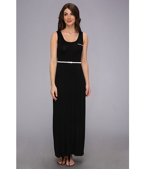 Calvin Klein - Belted Rayn Maxi Dress CD4N11X3 (Black/Cream) Women's Dress