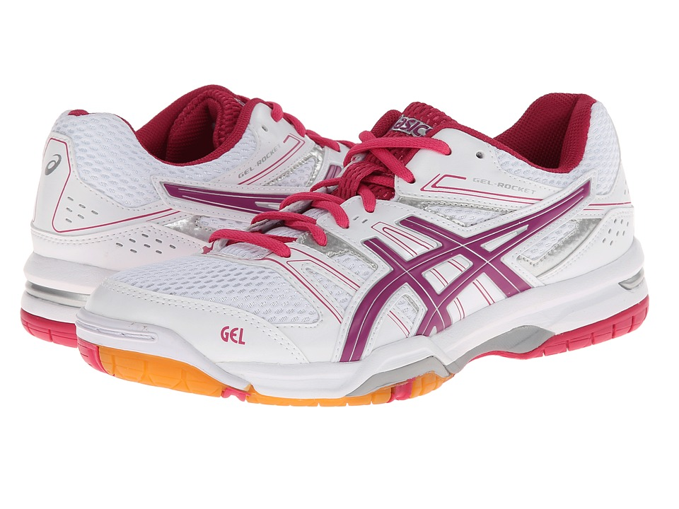 ASICS - GEL-Rocket 7 (White/Fuchsia/Magenta) Women's Shoes