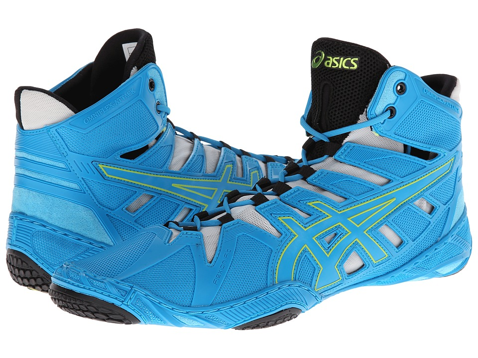 ASICS - OmniFlex-Attack (Blue Jewel/Lime/Silver) Wrestling Shoes