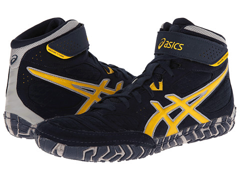 ASICS - Aggressor 2 (Navy/Sunflower/Silver) Men's Wrestling Shoes