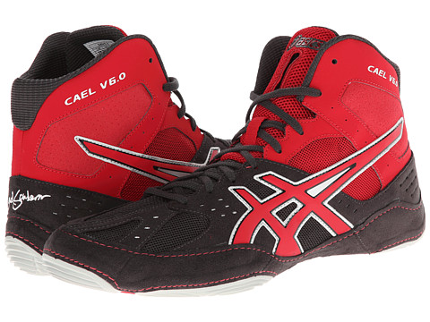 ASICS - Cael V6.0 (Charcoal/Fire Red/Silver) Men's Wrestling Shoes