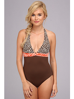 SALE! $32.99 - Save $66 on La Blanca Spot On Twist Front Halter One Piece (Brown) Apparel - 66.68% OFF $99.00