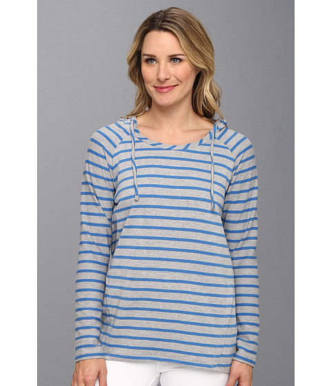 DKNY Jeans - L/S Stripe French Terry Pullover Hoodie (Sea Blue) Women