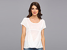 DKNY Jeans Mesh And Sheer Stripe Bubble Top