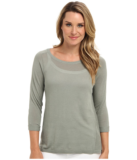 NIC+ZOE - Daybreak Sleek Textured Top (Oyster Shell) Women's Long Sleeve Pullover