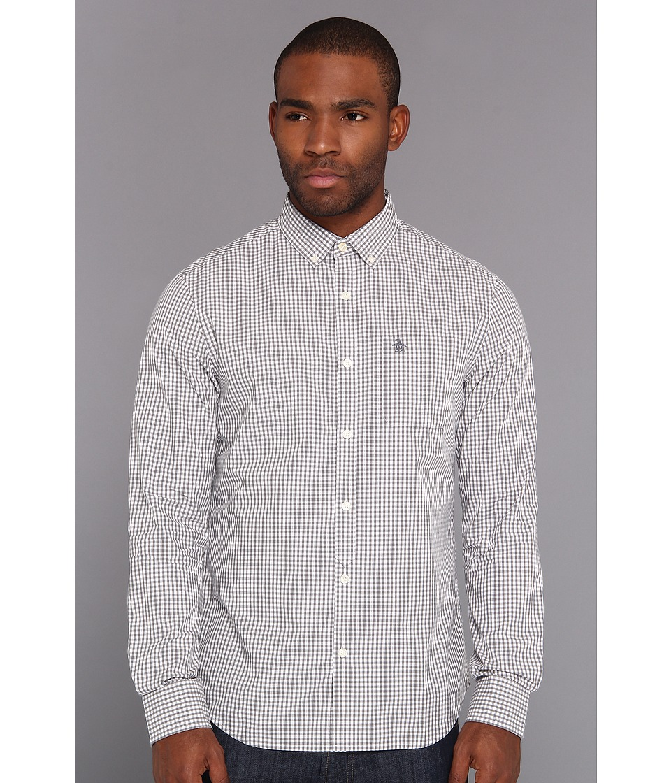 Original Penguin - Heritage Fit L/S Gingham Woven Shirt (Castlerock) Men's Long Sleeve Button Up