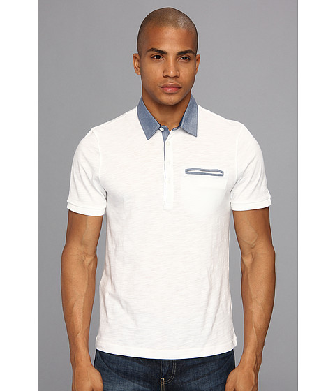 Original Penguin - Heritage Fit S/S Solid Polo w/ Chambray Collar (Bright White) Men's Short Sleeve Pullover