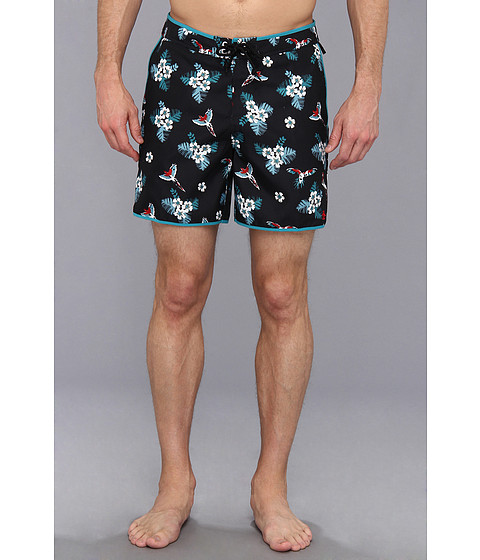 Original Penguin - Bird Fixed Waist Volley Swim Short (True Black) Men