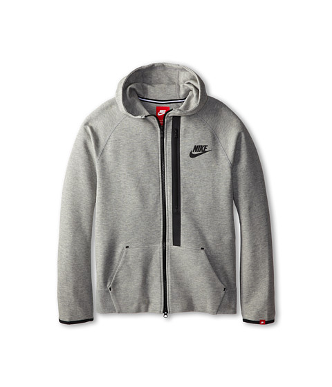 Nike Kids - YA76 Tech Fleece Full Zip Hoodie (Little Kids/Big Kids) (Dark Grey Heather/Black) Boy