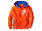 Nike Kids YA76 HBR SB Full Zip Hoodie (Little Kids/Big Kids) (Team Orange/Game Royal/Game Royal)