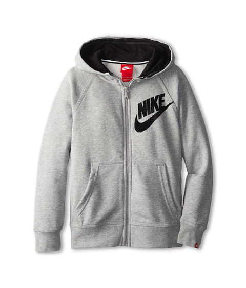 Nike Kids - YA76 HBR SB Full Zip Hoodie (Little Kids/Big Kids) (Dark Grey Heather/Black) Boy's Sweatshirt