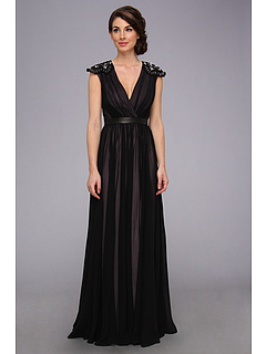 SALE! $571.99 - Save $573 on Badgley Mischka Lace Cap Sleeve Gown (Black) Apparel - 50.04% OFF $1145.00