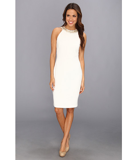 Badgley Mischka - Pebble Crepe Cocktail Dress (Ivory) Women's Dress