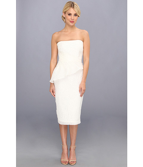 Badgley Mischka - Textured Organza Strapless Cocktail Dress (White) Women's Dress