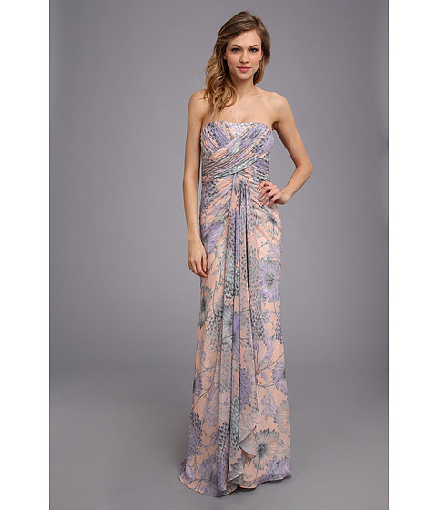 Badgley Mischka - Floral Chiffon Gown (Lilac Multi) Women's Dress