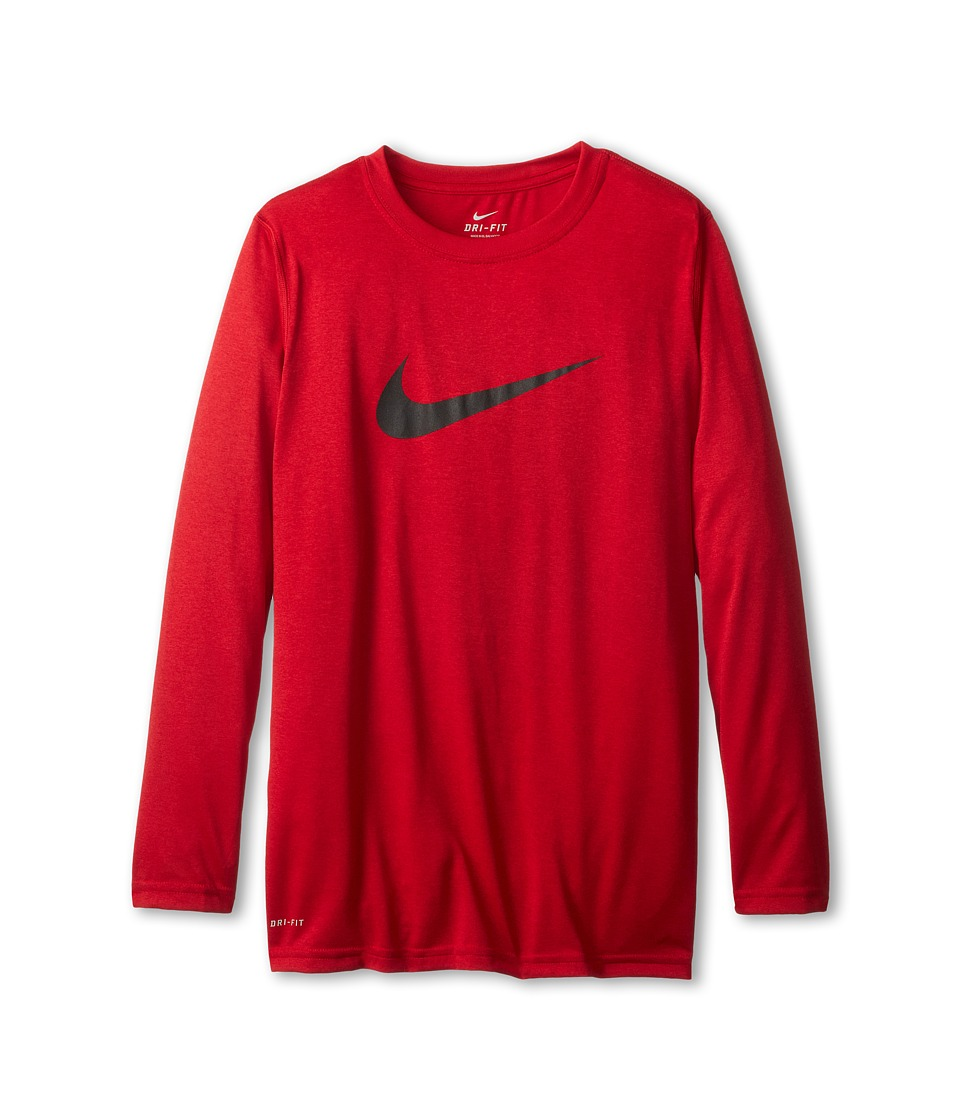 Nike Kids - Legends L/S Top (Little Kids/Big Kids) (Gym Red/Black) Boy's Long Sleeve Pullover