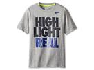 Nike Kids High Light Real Take Down Tee (Little Kids/Big Kids) (Dark Grey Heather/Cyber)