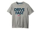Nike Kids Drive Fast TD Tee (Little Kids/Big Kids) (Dark Grey Heather/Space Blue)