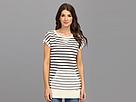 Seven7 Jeans - Shot Sleeve Stripe Side Zip Tunic Sweatshirt (Black/White) - Apparel