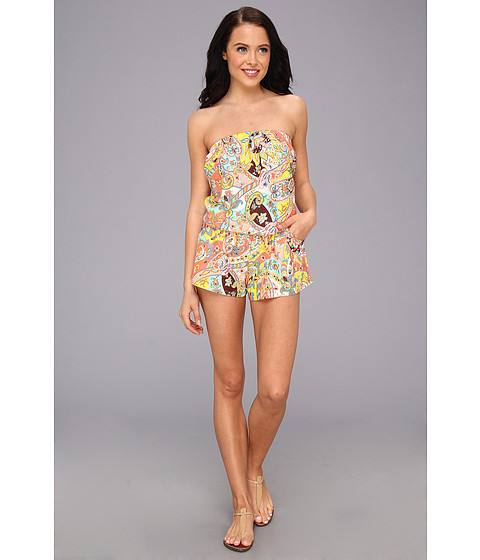 Shoshanna - Bohemian Floral Strapless Romper (Multi) Women's Jumpsuit & Rompers One Piece
