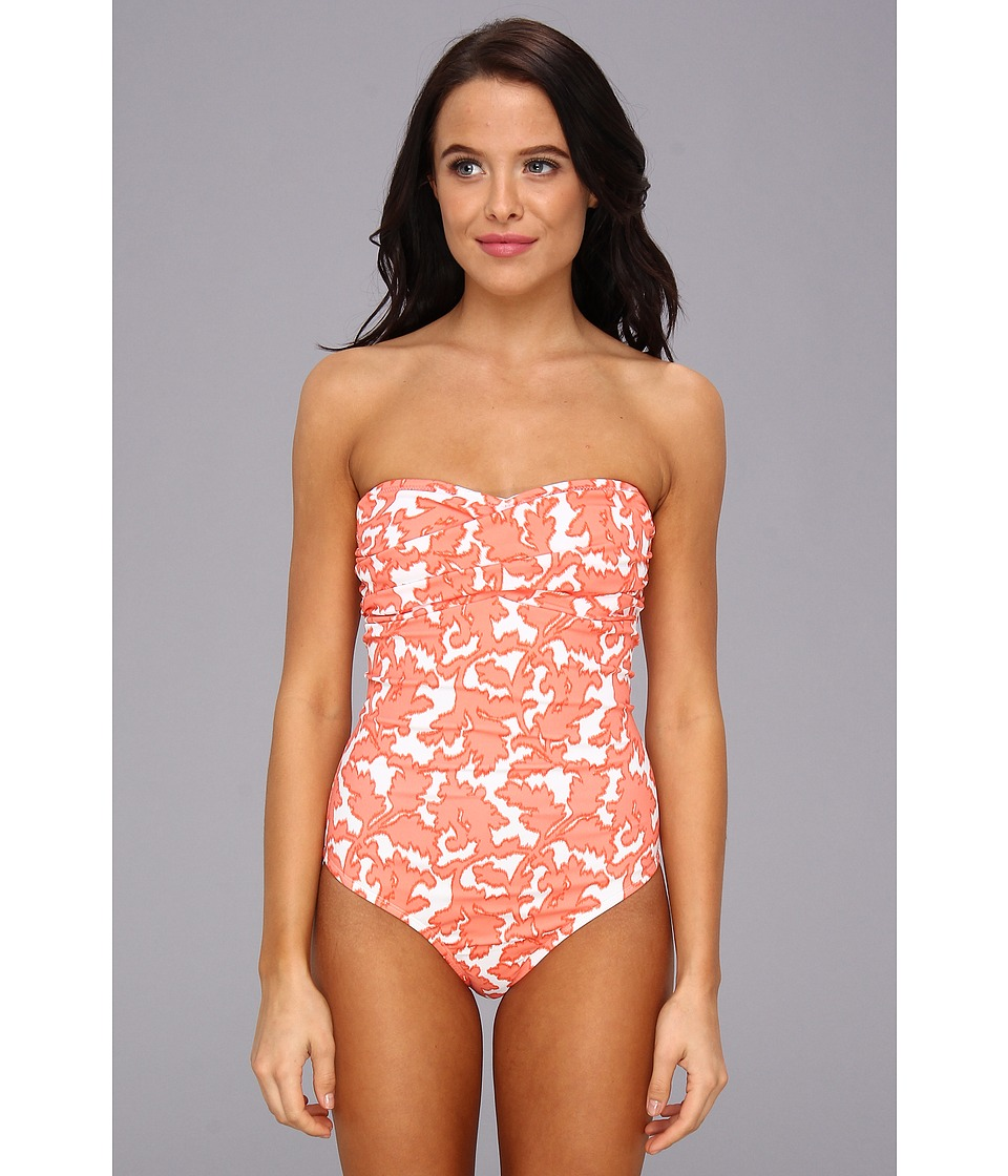 Shoshanna - Coral Reef Twist Bandeau One-Piece (Coral/White) Women's Swimsuits One Piece