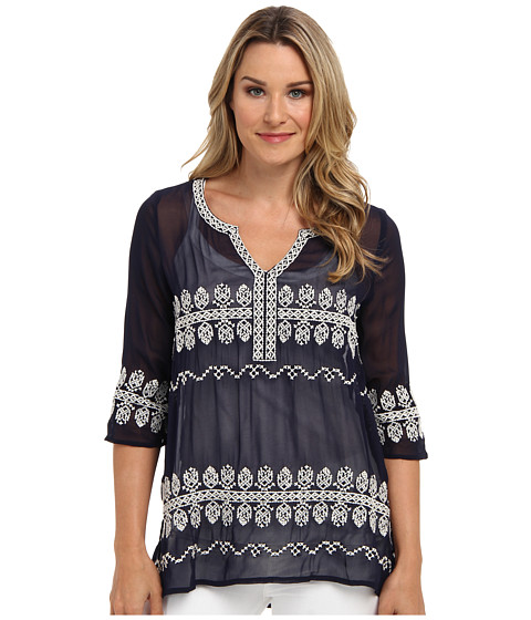 Karen Kane - Split Neck Embroidered Top (Navy) Women's Long Sleeve Pullover