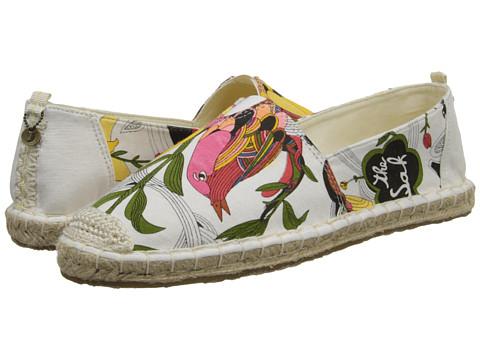 The Sak - Ella (White Peace Print) Women's Flat Shoes
