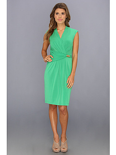 SALE! $59.99 - Save $48 on Ellen Tracy Cap Sleeve Printed Ity Surplice Neck Dress (Green) Apparel - 44.45% OFF $108.00