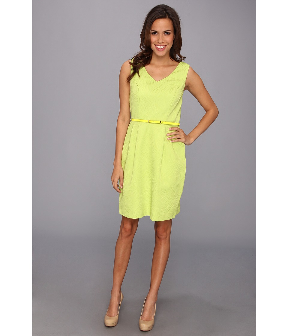 Ellen Tracy - Jacquard Fit And Flare With Cutout Back (Lime) Women's Dress