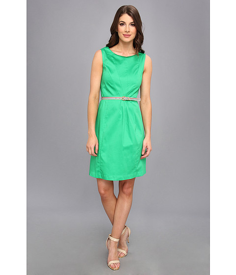 Ellen Tracy - Sleeveless Cotton Fit And Flare With Striped Belt (Green) Women's Dress