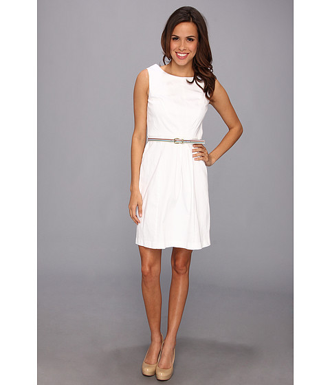 Ellen Tracy - Sleeveless Cotton Fit And Flare With Striped Belt (White) Women's Dress