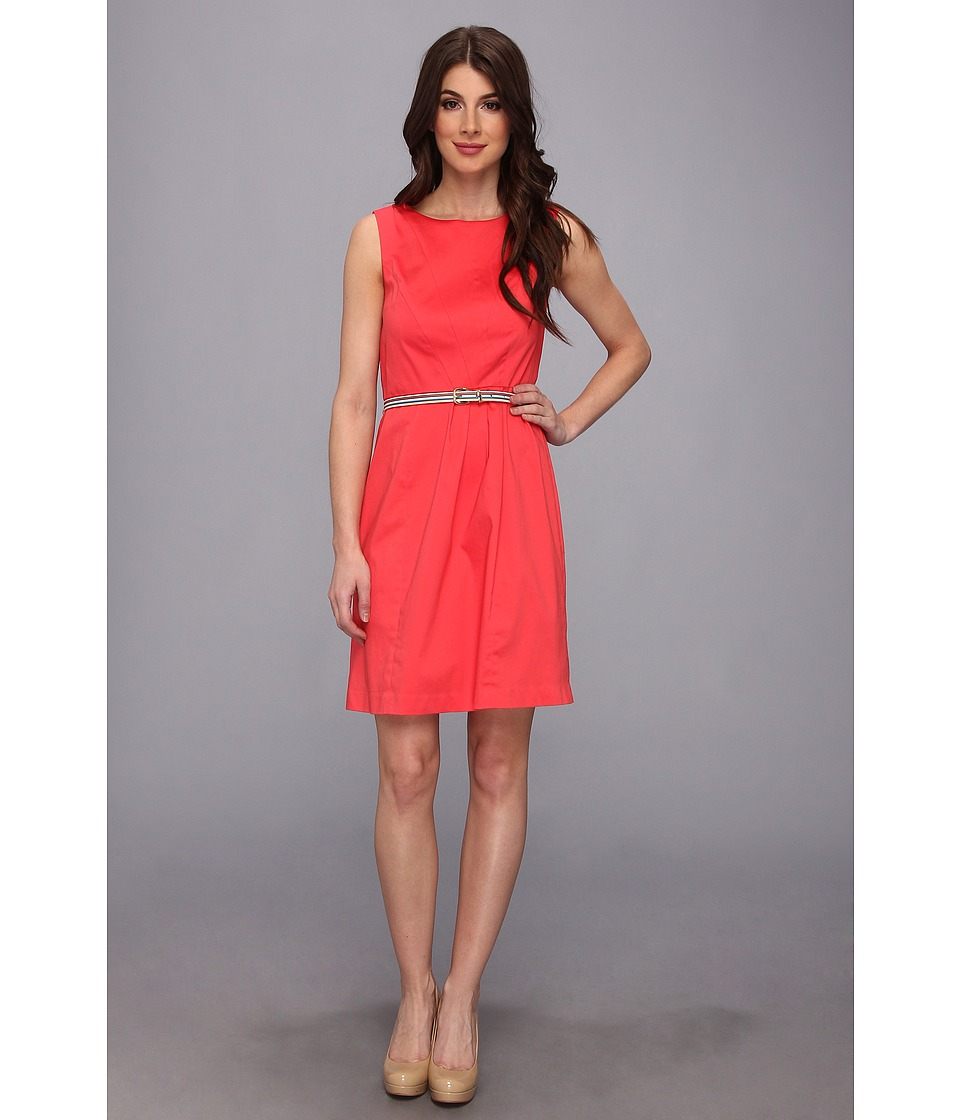 Ellen Tracy - Sleeveless Cotton Fit And Flare With Striped Belt (Coral) Women's Dress