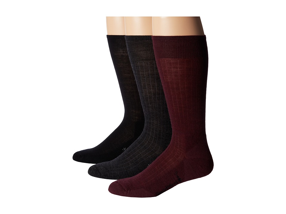 Smartwool - New Classic Rib 3-Pair Pack (Black/Aubergine/Medium Gray Heather) Men's Crew Cut Socks Shoes