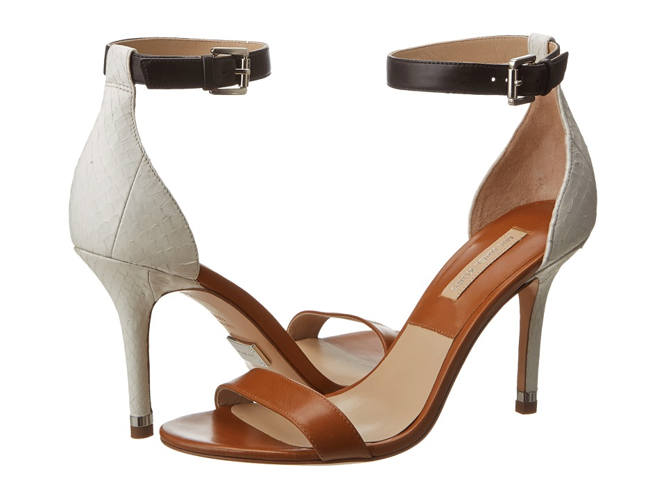 Michael Kors Natasia (Luggage/Optic White Palladium Smooth Calf/Sueded Genuine Snake) High Heels