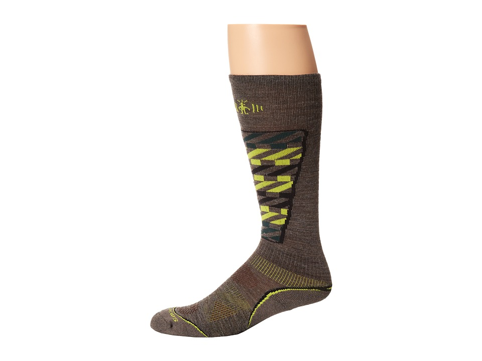 Smartwool - PhD Ski Light Pattern (Taupe) Men's Crew Cut Socks Shoes