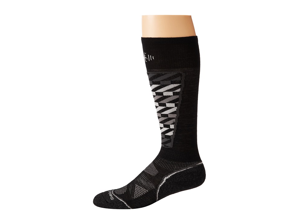 Smartwool - PhD Ski Light Pattern (Black/White) Men's Crew Cut Socks Shoes