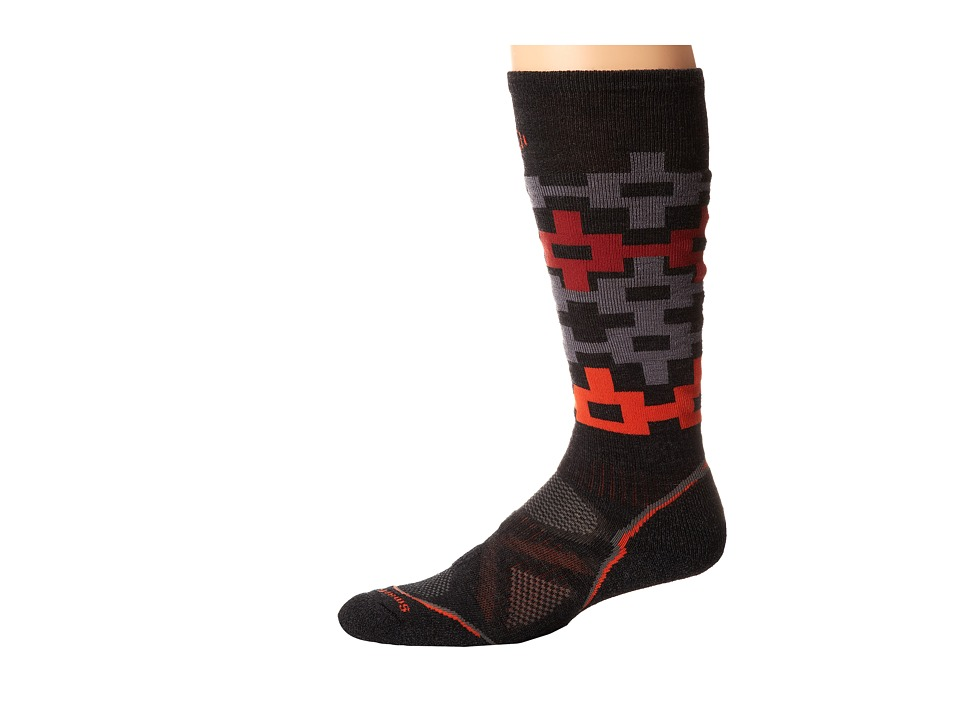 Smartwool - PhD Snowboard Medium Pattern (Charcoal/ Orange) Men's Crew Cut Socks Shoes