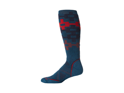 Smartwool - PhD Snowboard Medium Pattern (Deep Sea) Men's Crew Cut Socks Shoes