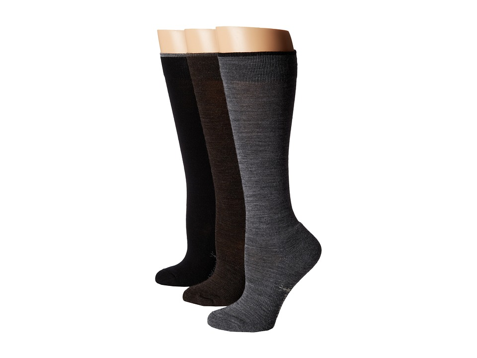 Smartwool - Basic Knee High 3-Pack (Medium Gray Heather/Chestnut Heather/Black) Women's Knee High Socks Shoes