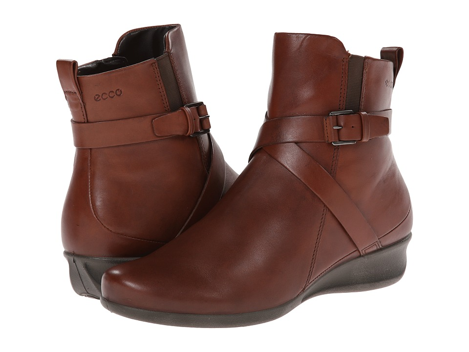 Ecco Womens Boots Leather Boot Abelone Cross Buckle Mahogany Cow