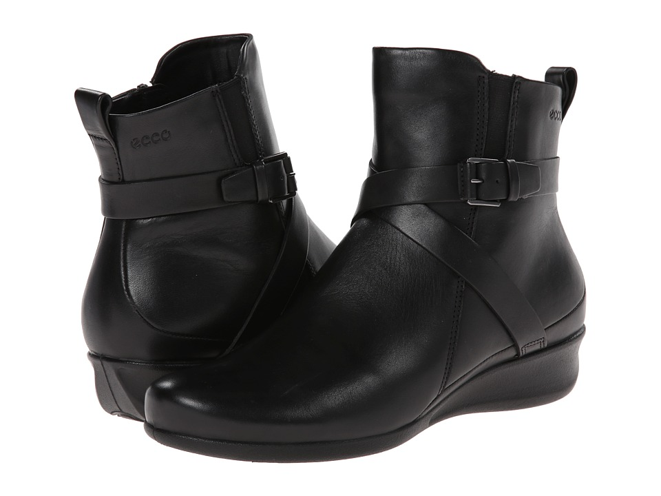 ECCO - Abelone Cross Buckle Boot (Black) Women's Boots