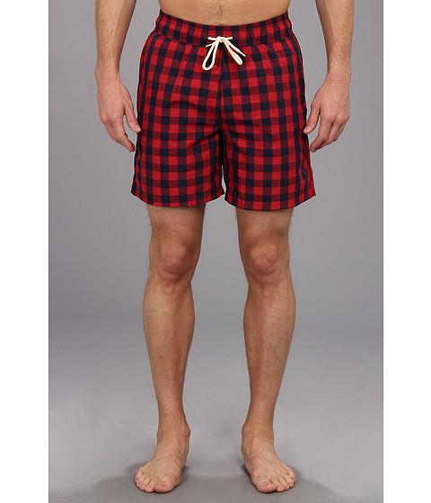 Ben Sherman - Buffalo Gingham Swim Trunk (Red) Men's Swimwear