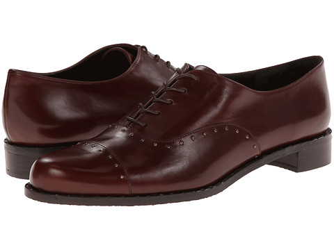 Stuart Weitzman - BoysTown (Mahogany Old West Calf) Women's Lace Up Cap Toe Shoes