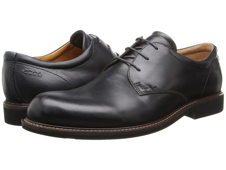 ECCO - Findlay Tie (Black/Marine) Men's Plain Toe Shoes