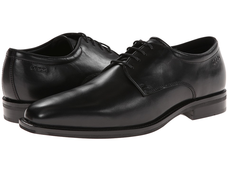 ECCO - Faro Tie (Black) Men's Plain Toe Shoes