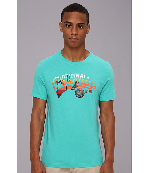 Original Penguin - Script Sunset Tee (Bright Aqua) Men