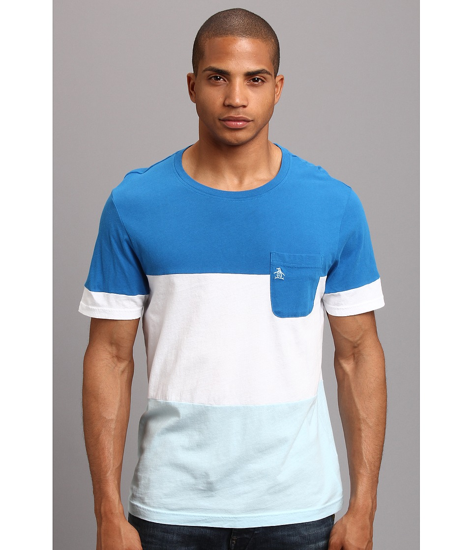 Original Penguin - Color Blocked Tee w/Pocket On Chest (Snorkel Blue) Men