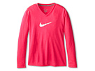 Nike Kids Leg V-Neck Swoosh L/S Tee (Little Kids/Big Kids) (Hyper Pink/Dark Grey Heather)