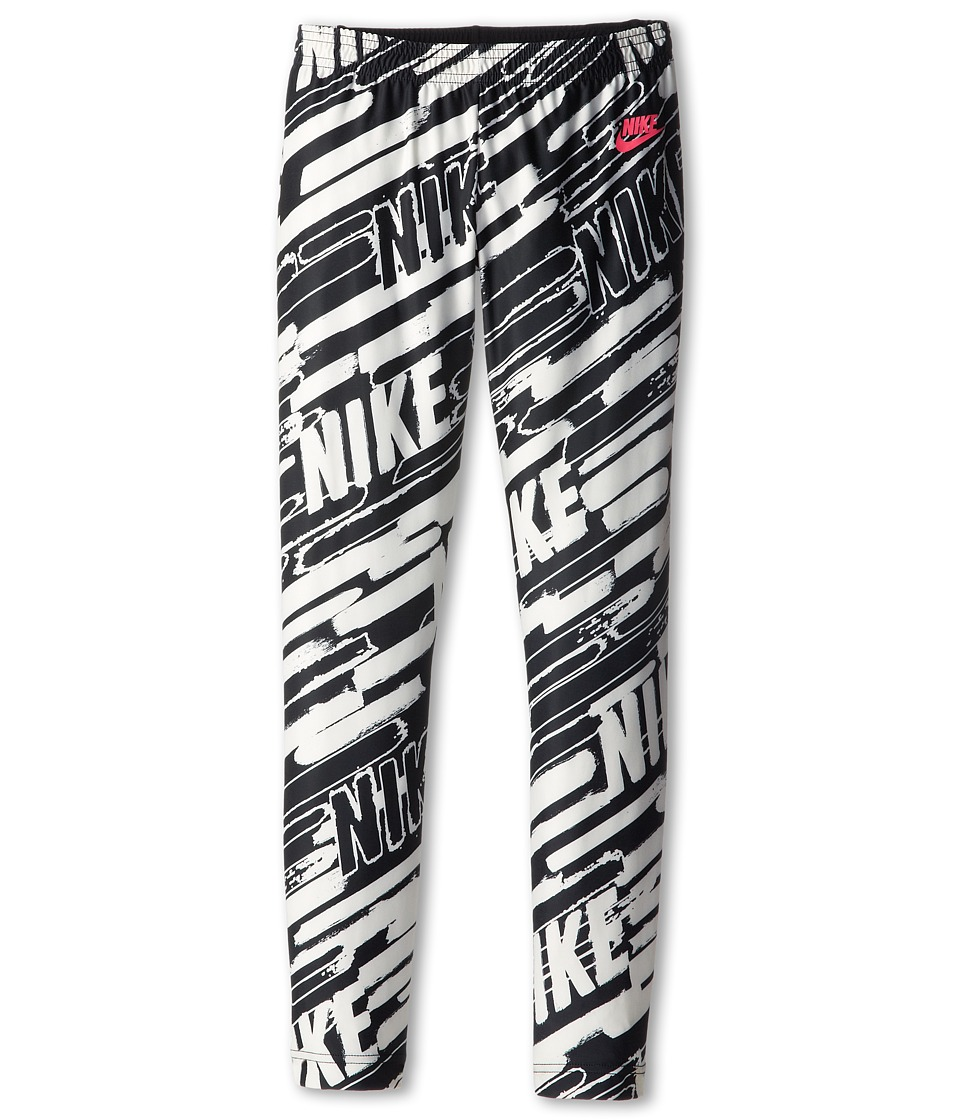 Nike Kids - AOP Tight (Little Kids/Big Kids) (Black/Black/Hyper Pink) Girl's Workout